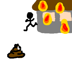 shocked poo watches man run from burning house