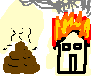Pile of shit looks on as a house burns down
