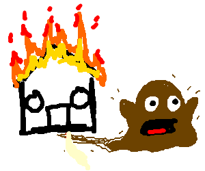 Brown Slime's house on fire