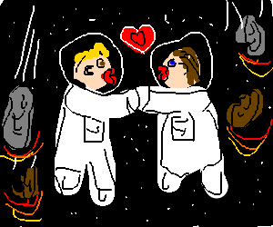 couple kiss in space as debris falls around them