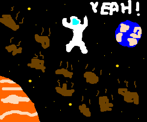 Astronaught loves being in the poo-belt