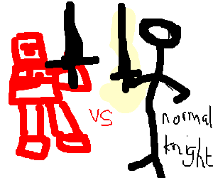 Red robot-knight vs. normal knight - FIGHT!!!