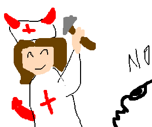 Devil nurse approaches patient with hammer