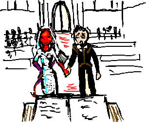 Red Devil wearing dress marries man at axe-point