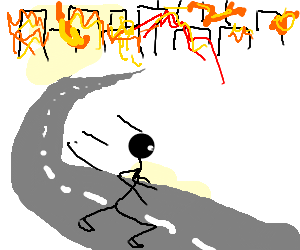man running along a road away from burning city