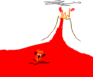 A dorf drowns in lava