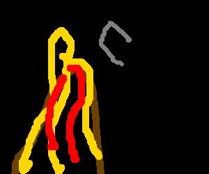 man axing a volcano
