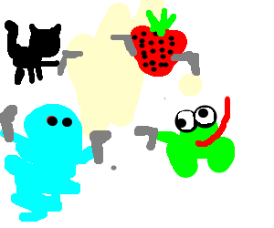 A Cat, a Strawberry, a Frog and a Genie showdown