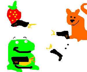 Cat-strawberry-ghost-frog gunfight.