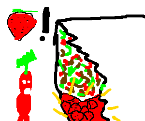a pikmin eating a burrito with strawberries