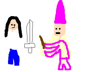 Pink wizard casts spell on warrior Fabio