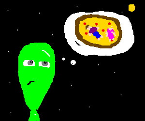 Green alien imagines what pizza is.