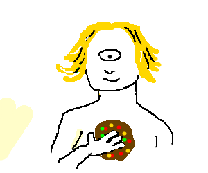 a blonde cyclops has a cookie with sprinkles