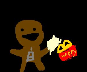Sackboy eating Happy Meal
