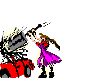 Aerith w/ Buster Sword, attacking a red car