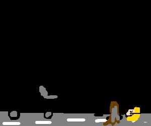 Christine stuck in road as balck van comes