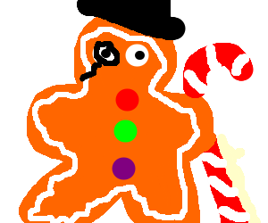 A very wry and dapper gingerbread man