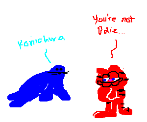 A blue Japanese seal talks with red Garfield.