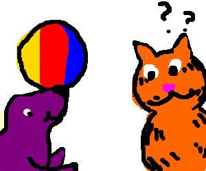 Garfield is not sure about this purple seal.
