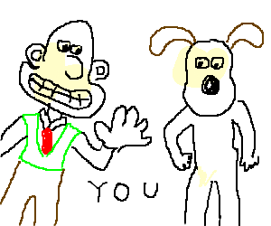 Wallace and Gromit staring at you