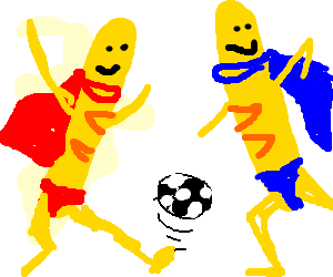 Two Wonderbreads playing football