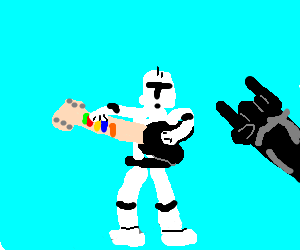 A Clone troopers played Guitar hero