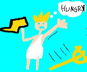 Poseidon dressed as Zeus is starving