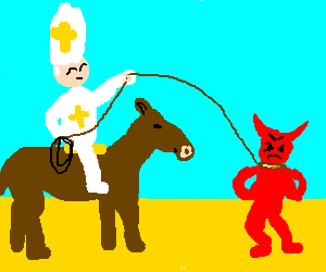 Cowboy Pope catches outlaw Satan