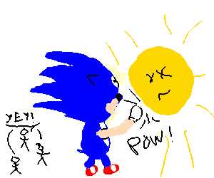 Sonic punches the sun to save tiny people