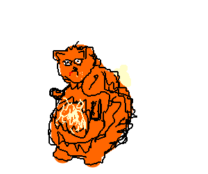 Garfield after a night of binge eating