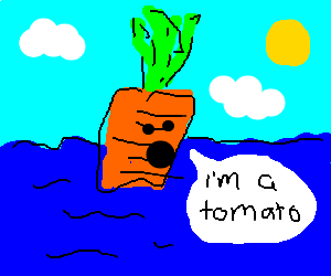 Delusional carrot floating in the sea