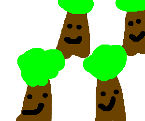 Four happy trees