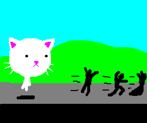 People chased by possessed giant cat