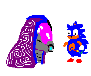 Tali confronts fat Sonic with a gmail tattoo