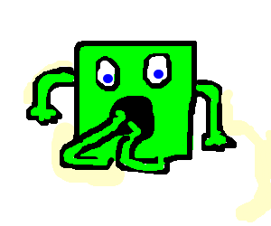 a green square with his legs in his mouth