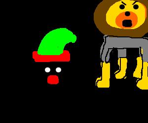 Santa's elf runs from lion wearing a parka