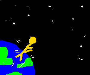 Yellow stick man jumps from the earth to space