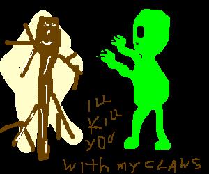 Alien threatens stick figure