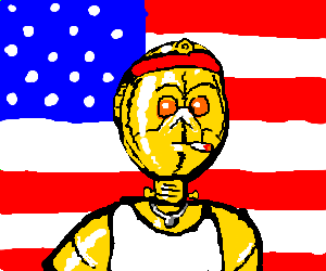 Instead of British, C3P0 as tough American robot