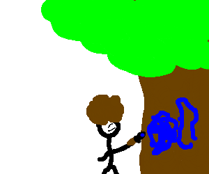 Afro guy painting a tree