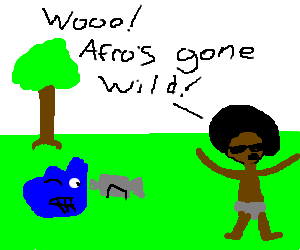 Afroboy going wild with blue paint in nature