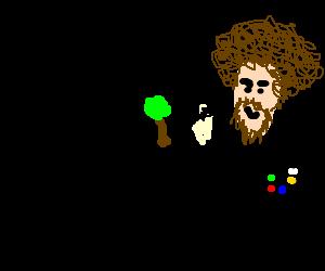 bob ross drawing a small happy tree
