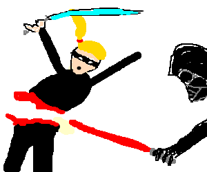 Blonde ninja cut in half by Vader's lightsabre