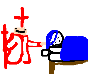 Pope/Nurse tries touching person lying on a bed