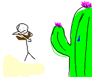 a boy shooting to a cactus with a crossbow