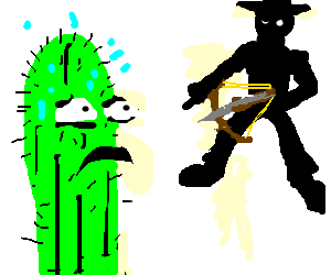cactus about to be shot by crossbow man