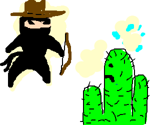 Cowboy ninja uses crossbow to threaten cactus.