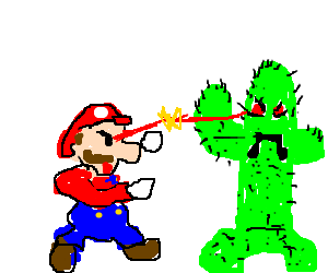 A battle between Mario and a walking cactus