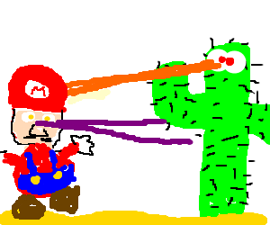 Super Mario with Laser vs. Cactus with Laser