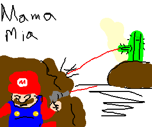 mario and a cactus shoot laser beams at eachothr